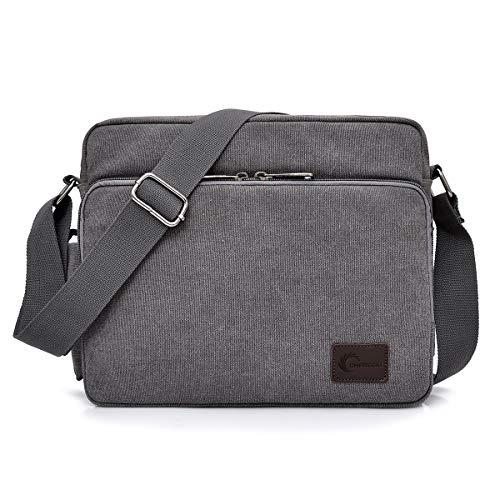 CHEREEKI Messenger Tasche Kuriertasche Umhängetasche Messenger Bag, Unisex Casual Vintage Stoff Rucksack (Grau)