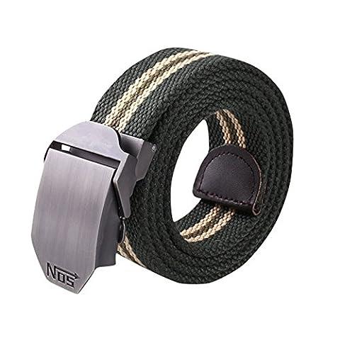 iShine Men's Women's Outdoor Military Style Slider Buckle Belt Thicken