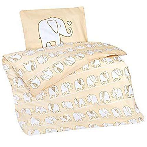 Aminata Kids Baby-Bettwäsche-Set Zoo-Tier-e Elefanten 100-x-135-cm Jungen, Mädchen - Baumwolle - beige, weiß - weich & kuschelig, Marken-Reißverschluss & Öko-Tex (Safari-baby-bettwäsche Mädchen)