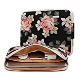 KAYOND Rose Pattern 13 inch Canvas water resistant laptop sleeve with pocket 13 inch 13.3 inch laptop case macbook air 13 case macbook pro 13 sleeve (13-13.3 Inch, Black Rose)