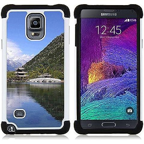 Hypernova Ibrido Heavy Duty Armatura antiurto Cover silicone cassa caso robusto Per Samsung Galaxy Note 4 IV / SM-N910 [Tempio Natura asiatico]