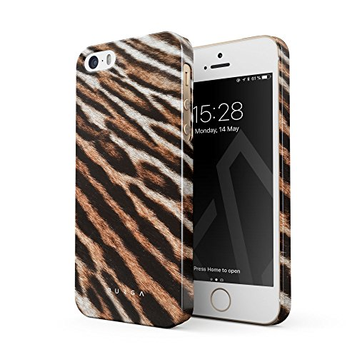 BURGA Hülle Kompatibel mit iPhone 5 / 5s / SE Handy Huelle Golden Wildcat Savage Wild Tiger Fur Pattern Dünn Leopard Cheetha, Robuste Rückschale aus Kunststoff Handyhülle Schutz Case Cover (Leopard Handy Cover Für Iphone 5)