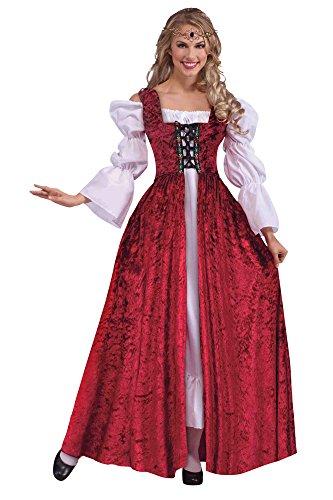 Damen Kostüm Edwardian - Bristol Novelty AC191 Mittelalterliche Robe, Rot, Size 10-14