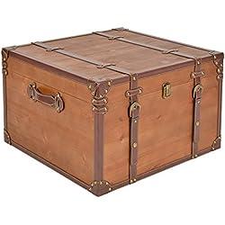 ts-ideen Mesa auxiliar cofre caja de madera cómoda armario Marrón pequeño