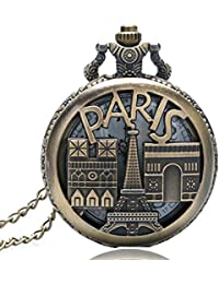 Delhitraderss Vintage Retro Paris Eiffel Tower Car Bike Bag Metal Keychain Pocket Clock