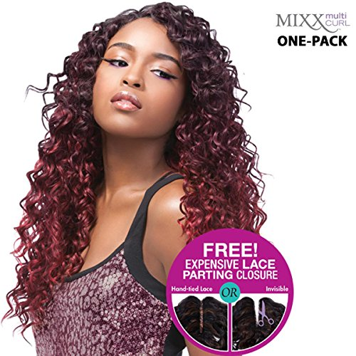[4 Wefts Complete Set] Sensationnel Too XL Mixx - CARIBBEAN WAVE - Human Hair Blend Weave (One Pack Complete) (4 (brown))