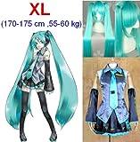 VOCALOID, Hatsune Miku Cosplay Wig 120 centimetri, taglia XL: altezza 164-169cm, peso 50-55 kg