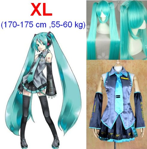 Vocaloid Miku Hatsune Cosplay Kostüme,Größe XL(170-175cm, 55-60 kg)+Vocaloid Miku Hatsune Perücke (Hatsune Miku Billig Kostüme)