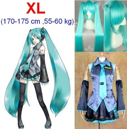e Cosplay Kostüme,Größe XL(170-175cm, 55-60 kg)+Vocaloid Miku Hatsune Perücke 120cm (Billige Anime Cosplay Kostüme)