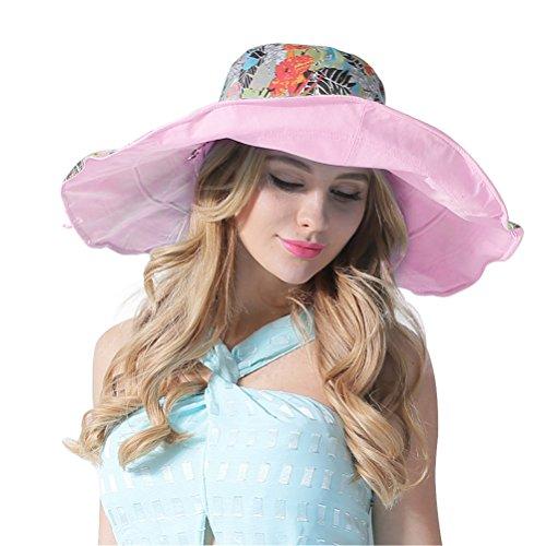 reite große Brim Sonnenhut Reversible Floppy Sun Hüte Foldable Roll up Sommer Strand Anti-UV UPF 50+ Sonnenschutz Hut Cap (Roll-up Outdoor-schatten)