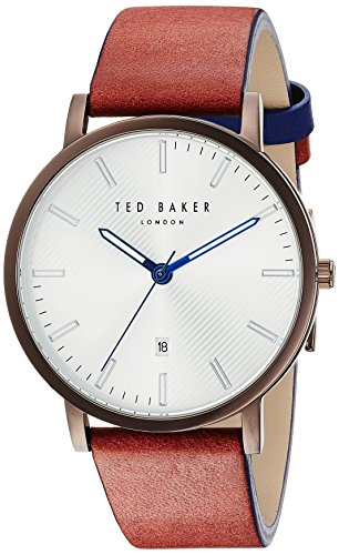 Ted Baker Men's 'DEAN' Quartz Stainless Steel and Leather Casual Watch, Color:Brown (Model: TE50012002)