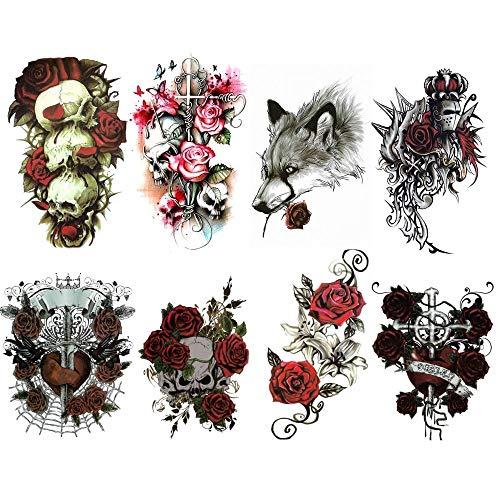Tatuaggi temporanei : x8 fogli di rose rosse floreali con tatuaggi temporanei / tatuaggi temporanei sexy per uomo / donna / fiori (nero e rosa rossa) / rock'n'roll tatoo/ rose gotiche e sensuali.