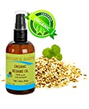 Botanical Beauty Organic Sesame Oil, 100% Pure / Undiluted / Cold Pressed. 2oz -60 ml. For Face, Hair And Body.