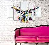 LaModaHome Deko 100% MDF Art Wand 5Elementen (91,4x 55,9cm Gesamt) fertig Zum Aufhängen Malen Deer Horn Animal Bunt Zeichnen Weiß Hintergrund Multi Varianten in Store.
