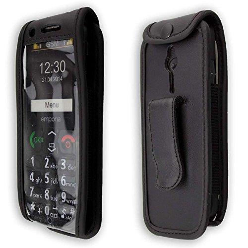 caseroxx Handy-Tasche Ledertasche mit Gürtelclip für Emporia Eco C160 aus Echtleder, Handyhülle für Gürtel (mit Sichtfenster aus schmutzabweisender Klarsichtfolie in schwarz)