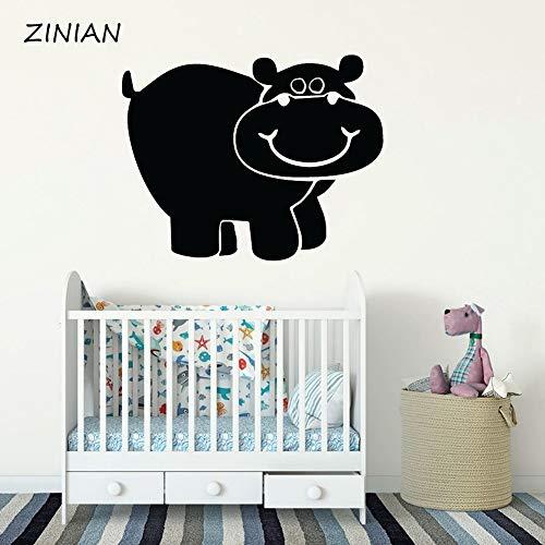 Tier Vinyl Wandaufkleber Für Baby Kindergarten Hippo Wandtattoo Kinderzimmer Schlafzimmer Dekoration Nette Tapete Wandbild rot 42X51 cm ()