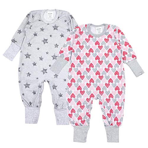TupTam Baby Mädchen Schlafstrampler Gemustert 2er Pack, Farbe: Farbenmix 3, Größe: 74/80