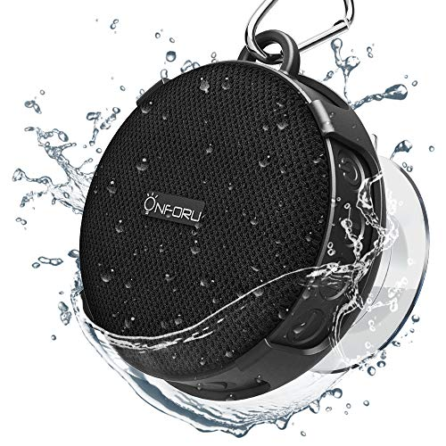 Onforu Bluetooth Lautsprecher, IPX7 Wasserdicht Bluetooth 5.0 Duschlautsprecher mit Saugnapf, bis zu 10 Stunden Wiedergabe, Tragbar Wireless Musikbox mit Freisprecheinrichtung für Badezimmer, Dusche
