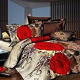 FGKLU Bettwäsche Set 4 Teilig (1 Bettbezug, 1 Spannbettlaken, 2 Kissenbezug), Weiche Hypoallergene Mikrofaser Bettbezüge Set, mit ReißVerschluss,005