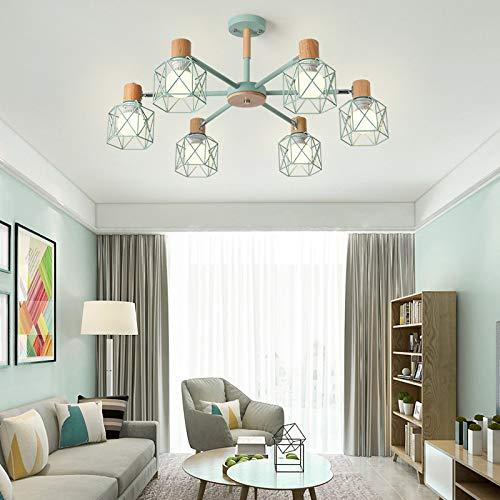 Estudio simple lámpara led dormitorio comedor lámpara 6 cabezas azul cielo con monocromo led luz cálida bombilla de 9 vatios