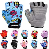 Enfants Gants de Vélo Garçons Filles Cyclisme VTT Demi-Doigts Antidérapant Mitaines de Sport Antichoc Respirant Courts pour Bicyclette Réglables Scooter Paire de Gant (JR XS ~6-6,5 cm, Kiss Love)