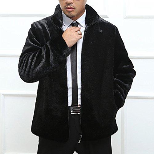 JTENGYAO Herren Pelzmantel Winterjacke Langmantel Parka Outwear Schwarz mit 3 Designs Schwarz mit Stehkragen
