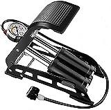 BMDHA Doppelzylinder-Fußpumpe Portable Hochdruck Fuß Typ Inflatormit Manometer Metall Durable/Fahrräder/Motorräder/Bälle/Autos,Black