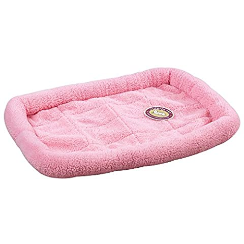 29.75 x 18.75 In Colored Sherpa Crate Bed Baby Pink