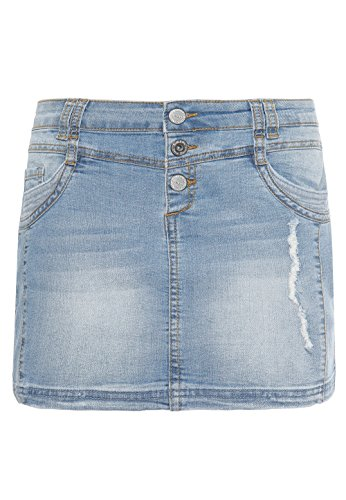 SUBLEVEL Damen Mini-Jeansrock Stretch kurz im Used-Look mit destroyed Parts blue L (Denim Tasche Mini-rock)
