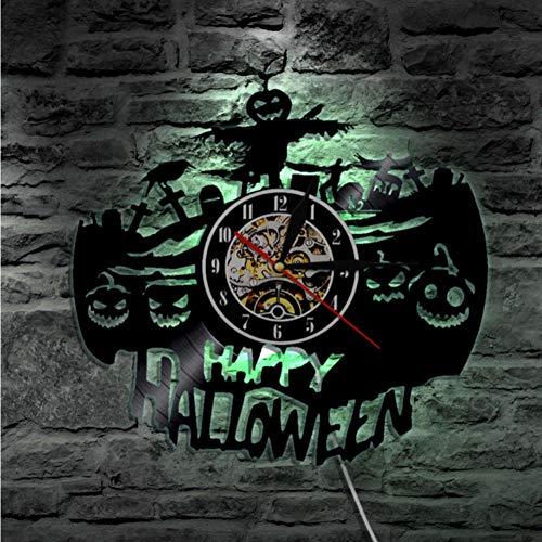 Guokee Halloween Dekoration Schallplatte Uhr Geätzt Vinyl Led Rekord Wanduhr Geschenk Halloween Liebhaber