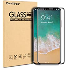 iPhone X Protection Écran,Danibos 3D Film en Verre Trempé Ultra Résistant Dureté 9H Glass Screen Protector Couverture Complète pour iPhone X (Noir)