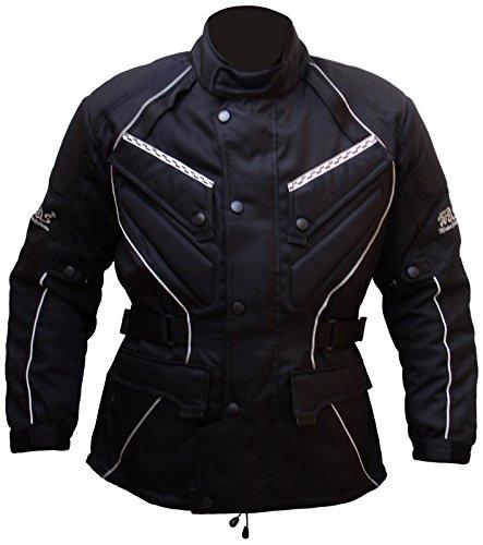 Protectwear giacca da motociclista, giacca tessile WCJ-101, nero,Taglia 68 / 8XL