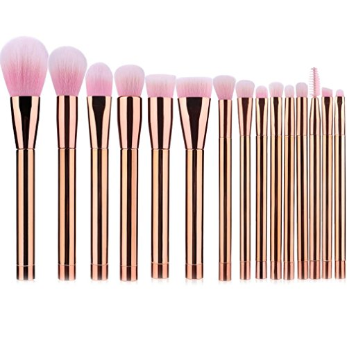 Make up Brushes Gold 15 Pieces UNIMEIX Beauty Brush Set for Powder Liquid Foundation Contour Eyelash Eyeshadow Concealer Lip Eyeliner Bronzer Blush Eyebrow Eye Blending Brushes (Pink)