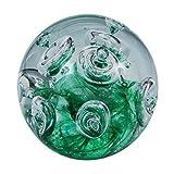 Traumkugel (227) - Briefbeschwerer mittel ca. 7cm : Motiv große Blasen über grünen Grund - Handarbeit