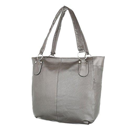 iTal-dEsiGn Damentasche Mittelgroße Handtasche Tragetasche Schultertasche Kunstleder TA-7103 Grau
