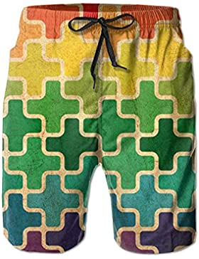 Funny Caps Colorful Puzzle Piece Men's/Boys Casual Shorts Swim Trunks Swimwear Elastic Waist Beach Pants with...