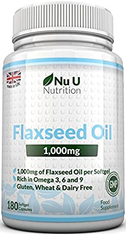 Flaxseed Oil 1000mg Cold Pressed – 180 Softgel Capsules (3 Month Supply) – Rich in Omega 3, 6 & 9 by Nu U