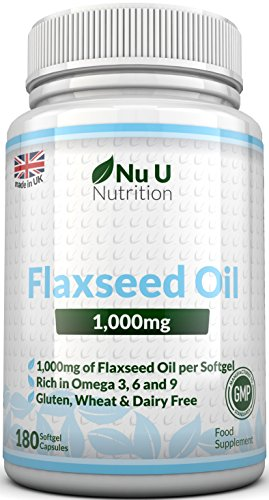 Flaxseed Oil 1000mg Cold Pressed – 180 Softgel Capsules (3 Month Supply) – Rich in Omega 3, 6 & 9 by Nu U Nutrition Test