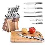 Ichcraft 7tlg.Messerblocksets Messer-Set Kochmesser Brotmesser Küchenzubehör Universalmesser Edelstahlklingen