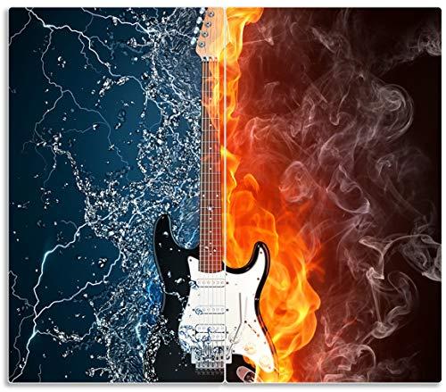 Wallario Herdabdeckplatte/Spritzschutz aus Glas, 2-teilig, 60x52cm, für Ceran- und Induktionsherde, Feuer-Wasser-Gitarre - E-gitarre Feuer