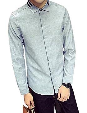 BOZEVON El cuello delgado de la sección de la camisa long-sleeved de la solapa de los hombres tiene dos barras...