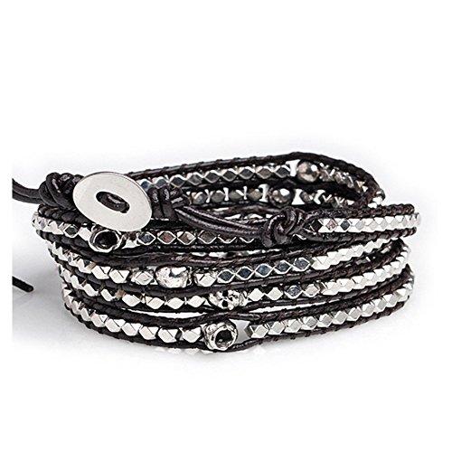 Eudora uomini donne bracciale in vera pelle con perline a forma di teschio 5fasce in argento