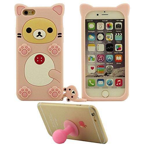 Apple Schutzhülle für iPhone 6S Plus / 6 Plus 5.5 inch Hülle Pink, Tier Cartoon Stil Original Design Niedlich 3D Bär Slikon Gel Weich Case + Silikon Halter pink