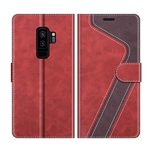 MOBESV Samsung Galaxy S9 Plus Hülle Leder, Galaxy S9 Plus Tasche Lederhülle Wallet Case Ledertasche Handyhülle Schutzhülle für Samsung Galaxy S9 Plus, Modisch Rot