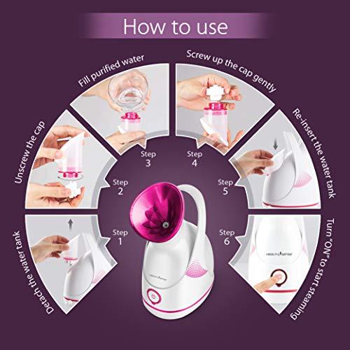 HealthSense Nano-Cure FS 550 Facial Steamer & Medical Steam Inhaler Vaporizer with Nano-Ionic Technology, UV Sterilization, 55ml water tank & 1 Year Warranty