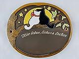 Türschild Keramikschild Katze mit Mond Haustürschild Keramik