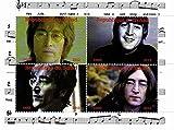 Die Beatles Briefmarken - John Lennon - 4 Fotos des legendären Beatle - Mint und postKleinBogen mit 4 Marken