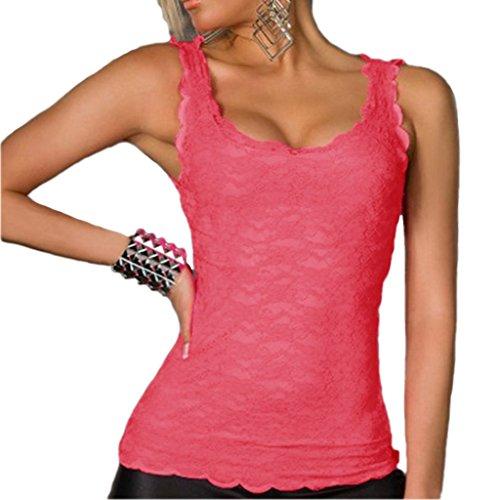Damen Spitze Tanktops Ärmellos Trägertops Spitzentops Cami Camisole Spitzentops U-Ausschnitt Pink