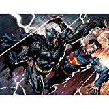 Doppelganger33 LTD Comic Book Characters Batman Superman Fight Punch Large Art Print Poster Wall Decor 18x24 inch Bande dessinée Livre Bats toi Grand Art Affiche mur Déco