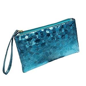 Fansi – Bolso de Mano multifunción para Mujer, 1 Unidad, Bolsa de Almacenamiento, PU, Azul, 19 * 11 * 2cm